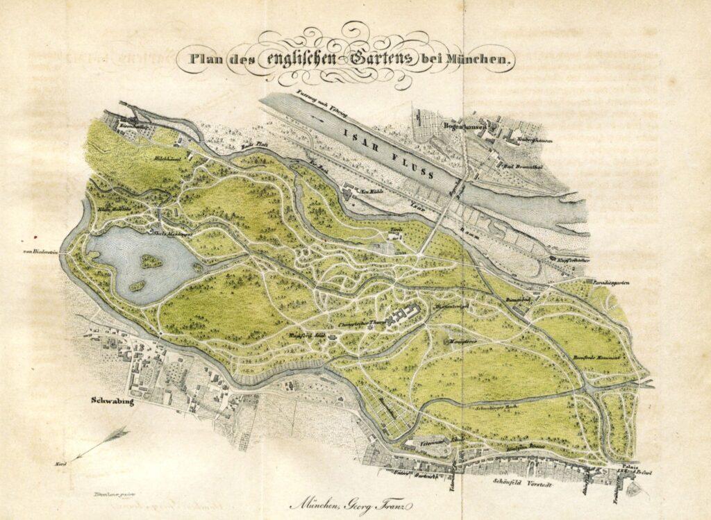 Übersichtsplan des Englischen Gartens von 1838