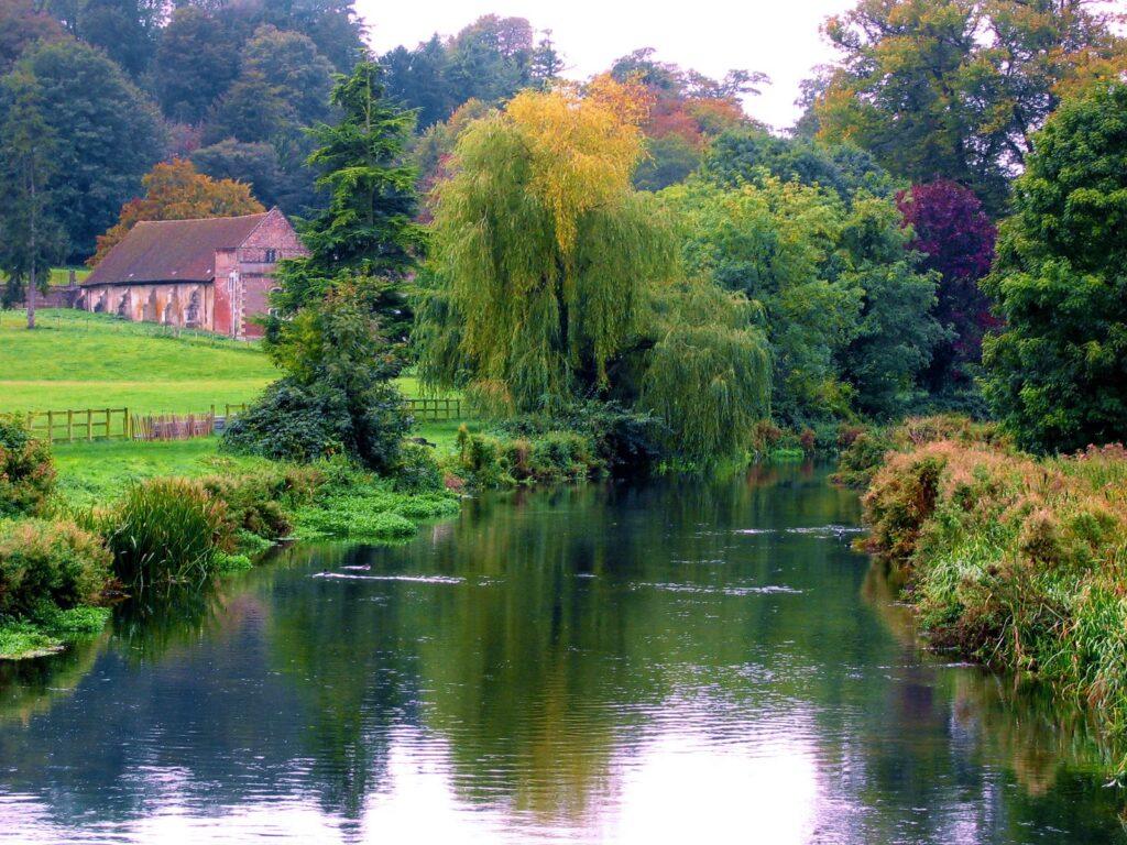 Malerische Flusslandschaft mit Trauerweide und kleinem Häuschen im Hintergrund