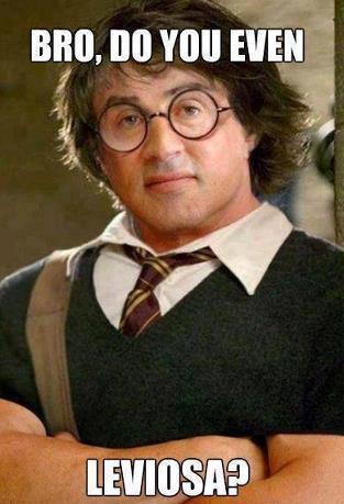 """Harry Potter schaut mit übertrieben trainiertem Oberkörper und verschränkten Armen in die Kamera. Die Überschrift sagt """"Bro, do you even leviosa""""?"""