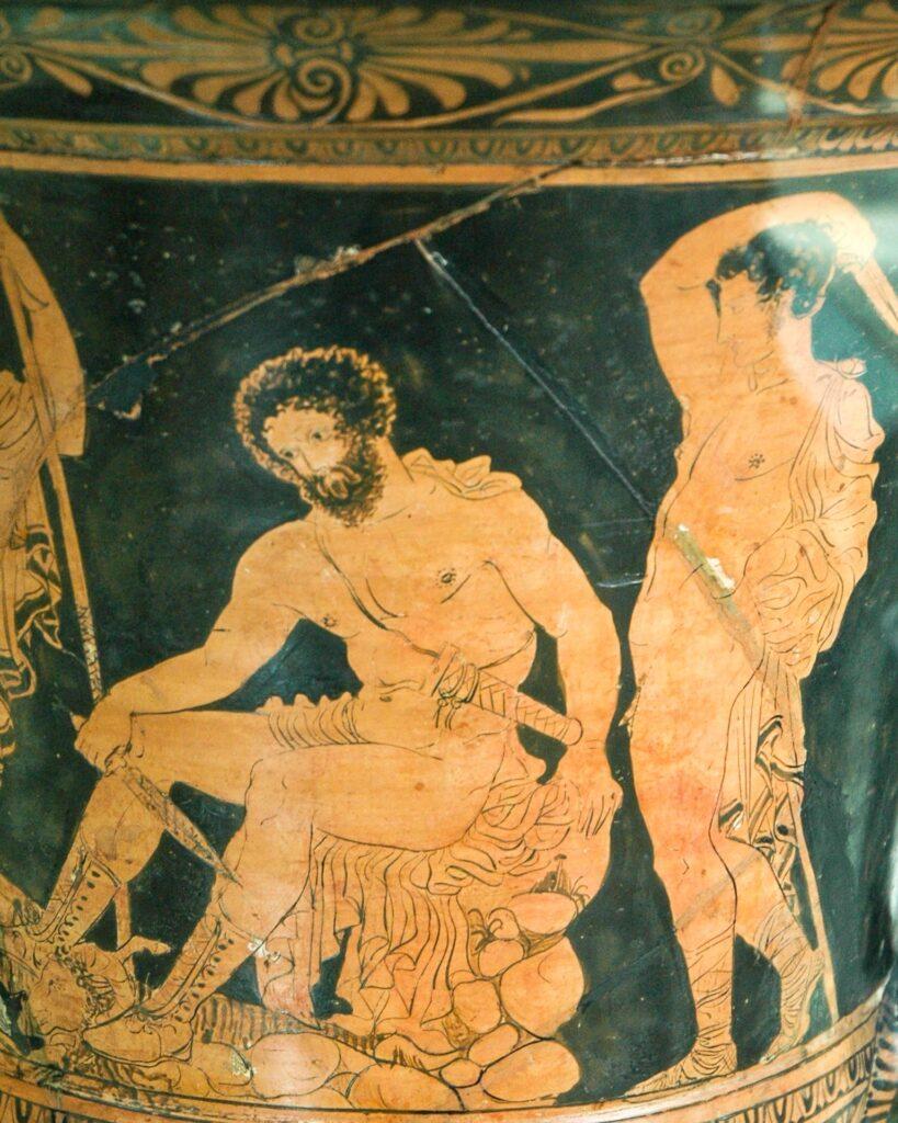 Griechische Vasenkunst, die Odysseus zeigt