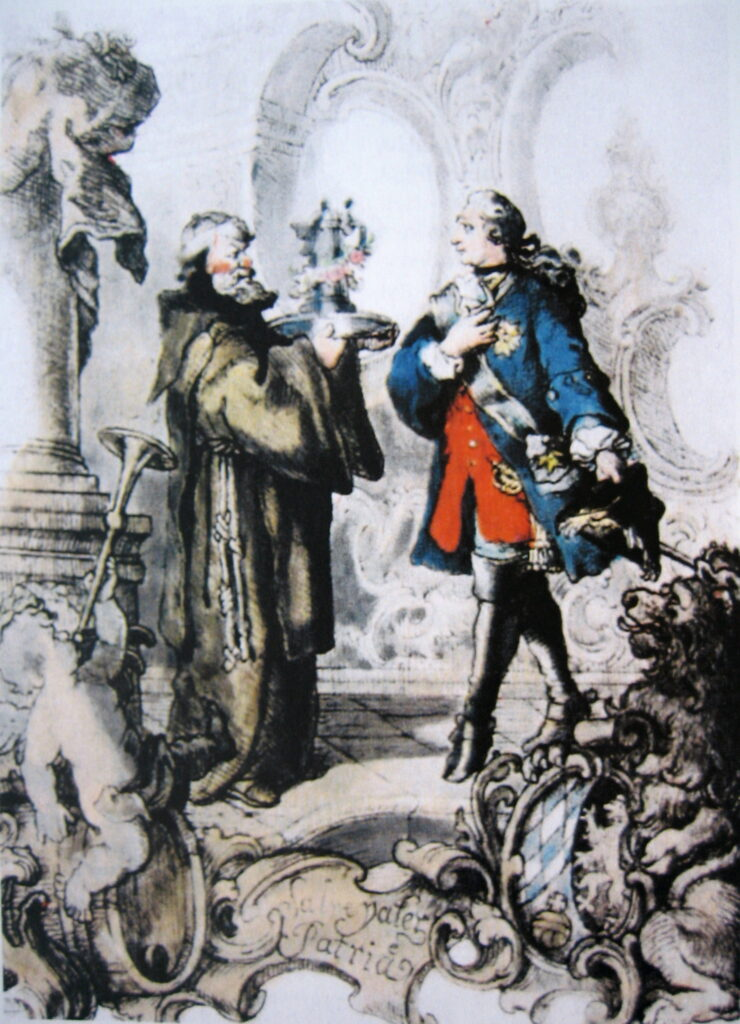 Der Kurfürst bekommt von Frater Barnabas den ersten Krug des Salvatorbiers überreicht
