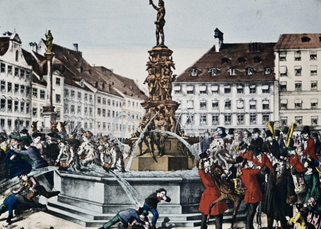 Lithographie Metzgersprung am Marienplatz in München