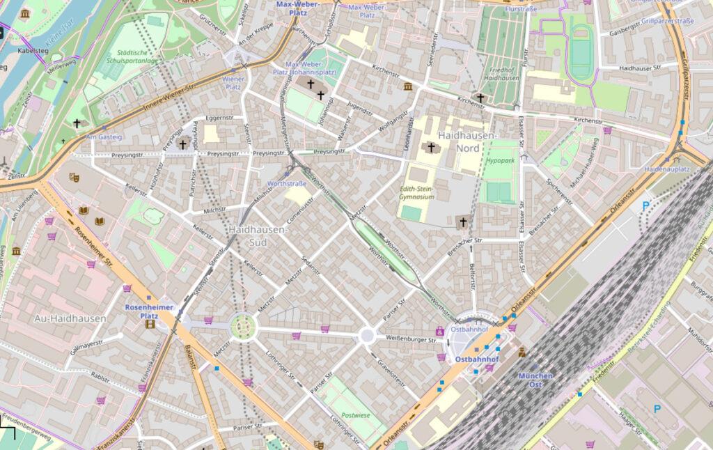 Straßen Geschichte: Heutiger Stadtplan von Haidhausen