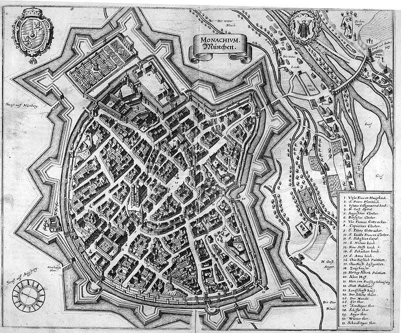 Kupferstich von der Münchner Festungsanlage