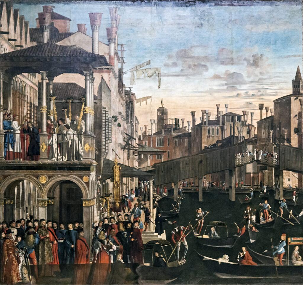 Wirtschaft und Handel im Mittelalter in Venedig an der Rialtobrücke